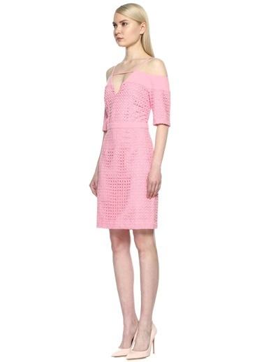 8Th Sign Kayık Yaka Askılı Kısa Kol Elbise Pembe